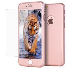 Husa Full Cover 360 + folie sticla iPhone 7, Rose Gold