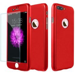 Husa Full Cover 360 + folie sticla iPhone 8 Plus, Red