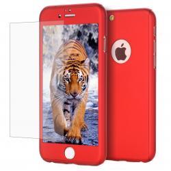 Husa Full Cover 360 + folie sticla iPhone 8, Red