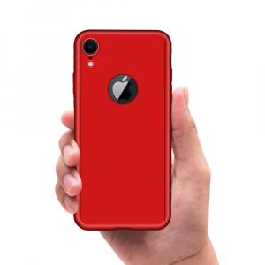 Husa Full Cover 360 + folie sticla pentru iPhone XR, Red
