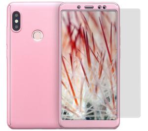 Husa Full Cover 360 + folie sticla pentru Xiaomi Redmi Note 5, Rose Gold