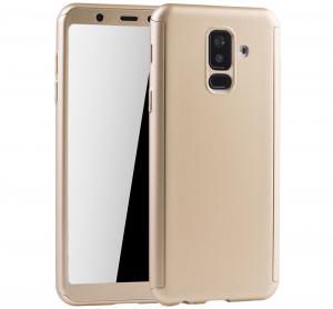 Husa Full Cover 360 + folie sticla Samsung Galaxy A6+ (2018), Gold