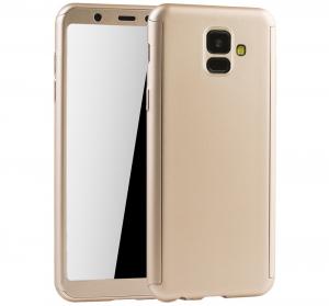 Husa Full Cover 360 + folie sticla Samsung Galaxy A6 (2018), Gold
