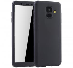 Husa Full Cover 360 + folie sticla Samsung Galaxy A6 (2018), Negru