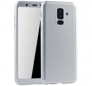 Husa Full Cover 360 + folie sticla Samsung Galaxy A6+ (2018), Silver