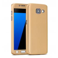 Husa Full Cover 360 + folie sticla Samsung Galaxy A7 (2016), Gold