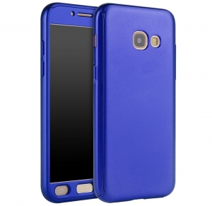 Husa Full Cover 360 + folie sticla Samsung Galaxy A7 (2017), Albastru