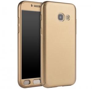 Husa Full Cover 360 + folie sticla Samsung Galaxy A7 (2017), Gold