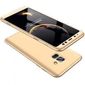 Husa Full Cover 360 + folie sticla Samsung Galaxy A8 Plus (2018), Gold