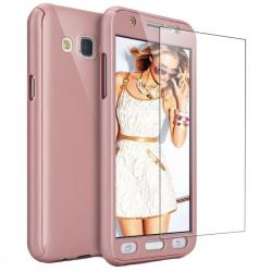 Husa Full Cover 360 + folie sticla Samsung Galaxy J3 (2016), Rose Gold