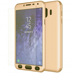 Husa Full Cover 360 + folie sticla Samsung Galaxy J4 (2018), Gold