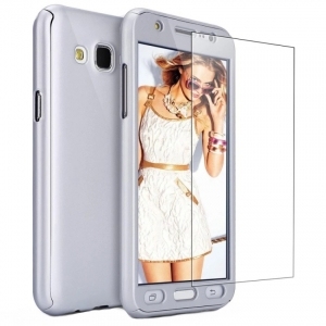 Husa Full Cover 360 + folie sticla Samsung Galaxy J5 (2016), Silver