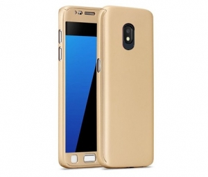 Husa Full Cover 360 + folie sticla Samsung Galaxy J5 (2017), Gold