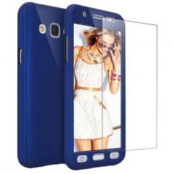 Husa Full Cover 360 + folie sticla Samsung Galaxy J7 (2016), Albastru