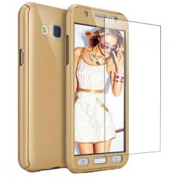 Husa Full Cover 360 + folie sticla Samsung Galaxy J7 (2016), Gold