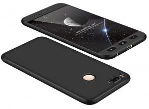 Husa Full Cover 360 + folie sticla Xiaomi Mi A1, Negru