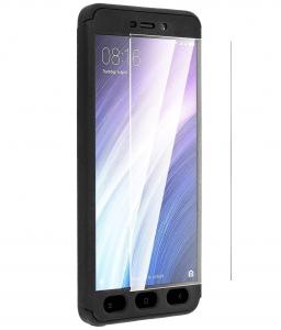 Husa Full Cover 360 + folie sticla Xiaomi Redmi 4A, Negru