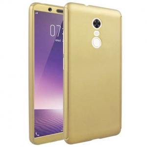 Husa Full Cover 360 + folie sticla Xiaomi Redmi 5 Plus, Gold