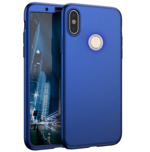 Husa Full Cover 360 + folie sticla Xiaomi Redmi Note 5 Pro, Albastru