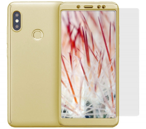 Husa Full Cover 360 + folie sticla Xiaomi Redmi Note 5 Pro, Gold