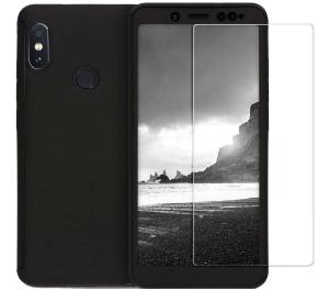 Husa Full Cover 360 + folie sticla Xiaomi Redmi Note 5 Pro, Negru