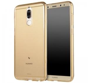 Husa Full TPU 360 fata spate Huawei Mate 10 Lite, Gold Transparent