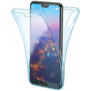 Husa Full TPU 360 fata + spate Huawei P20, Albastru transparent