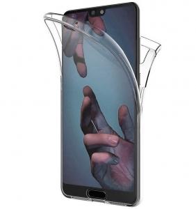 Husa Full TPU 360 fata + spate Huawei P20, Gri Transparent