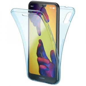 Husa Full TPU 360 fata + spate Huawei P20 Lite, Albastru transparent