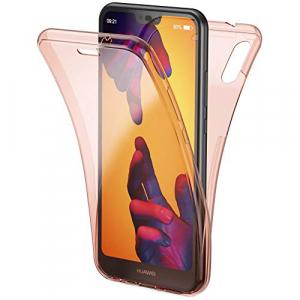Husa Full TPU 360 fata + spate Huawei P20 Lite, Rose Gold transparent