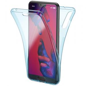 Husa Full TPU 360 fata + spate Huawei P20 Pro, Albastru transparent