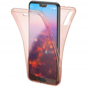 Husa Full TPU 360 fata + spate Huawei P20 Pro, Rose Gold transparent