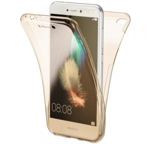 Husa Full TPU 360 fata spate Huawei P9 Lite Mini 2017, Gold transparent