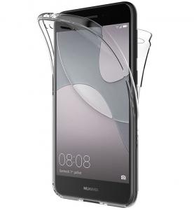 Husa Full TPU 360 fata spate Huawei P9 Lite Mini 2017, Gri transparent