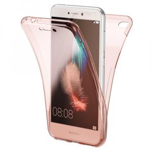Husa Full TPU 360 fata + spate Huawei P9 Lite Mini 2017, Rose Gold transparent