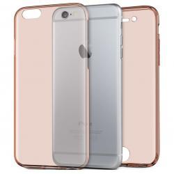 Husa Full TPU 360 (fata + spate) iPhone 8, Rose Gold Transparent
