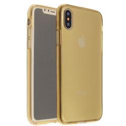 Husa Full TPU 360 (fata + spate) iPhone X, Gold Transparent