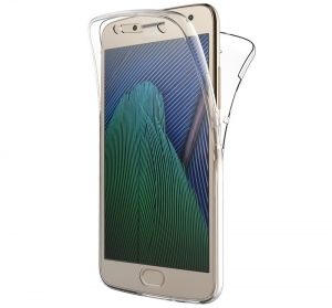 Husa Full TPU 360 fata + spate Motorola Moto G5 Plus, Transparent