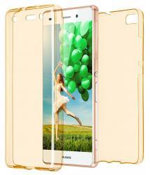 Husa Full TPU 360 (fata + spate) pentru Huawei P8 Lite, Gold Transparent