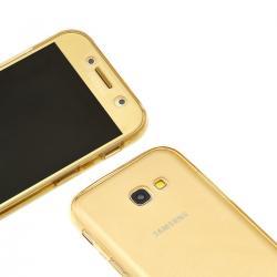 Husa Full TPU 360 (fata + spate) pentru Samsung Galaxy A5 (2017), Gold transparent