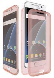 Husa Full TPU 360 (fata + spate) pentru Samsung Galaxy S7 Edge, Rose Gold Transparent