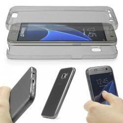 Husa Full TPU 360 (fata + spate) pentru Samsung Galaxy S7, Gri transparent
