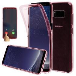 Husa Full TPU 360 (fata + spate) pentru Samsung Galaxy S8 Plus, Rose Gold Transparent