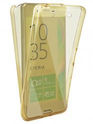 Husa Full TPU 360 (fata + spate) pentru Sony Xperia XA, Gold transparent