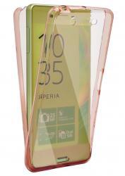 Husa Full TPU 360 (fata + spate) pentru Sony Xperia XA, Rose gold transparent