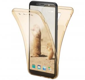 Husa Full TPU 360 fata + spate Samsung Galaxy A6+ (2018), Gold transparent