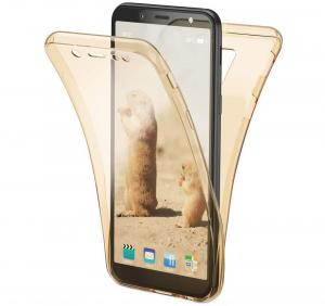 Husa Full TPU 360 fata + spate Samsung Galaxy A6 (2018), Gold transparent