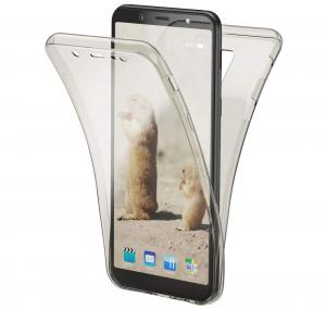 Husa Full TPU 360 fata + spate Samsung Galaxy A6+ (2018), Gri Transparent