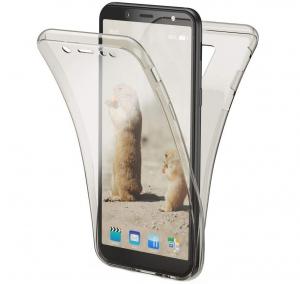 Husa Full TPU 360 fata + spate Samsung Galaxy A6 (2018), Gri transparent