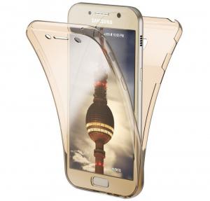 Husa Full TPU 360 fata + spate Samsung Galaxy A7 (2017), Gold transparent